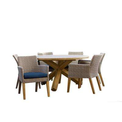 Indo 7-Piece Teak/Wicker Round Outdoor Patio Dining Set with Indigo Cushions