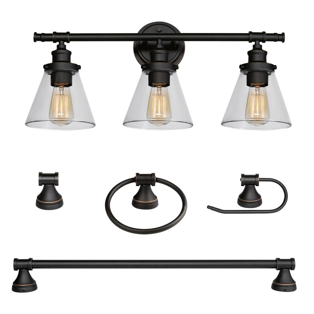 globe electric 3 light rubbed bronze 5 10763