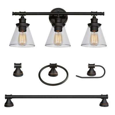 Parker 3 Light Oil Rubbed Bronze 5 Piece All In One Bath Light Set