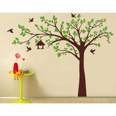 100 in. x 79 in. Big Tree with Love Birds Tree Removable Wall Decal