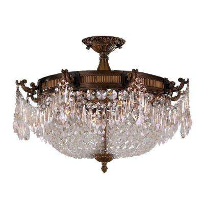 Winchester Collection 4-Light Antique Bronze and Clear Crystal Semi Flush Mount