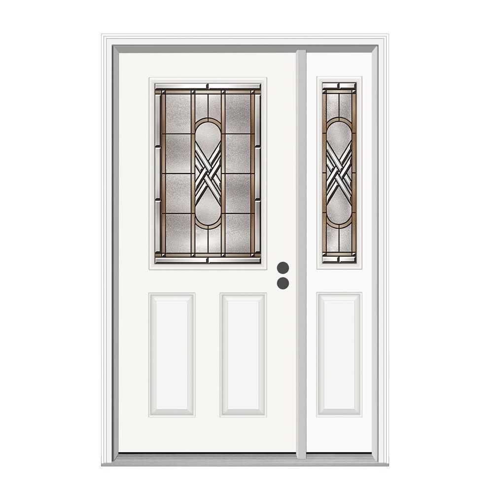 JELD-WEN 50.125 in. x 81.75 in. 1/2 Lite Ascot Primed Steel Prehung Left-Hand Inswing Front Door with Right-Hand Sidelite
