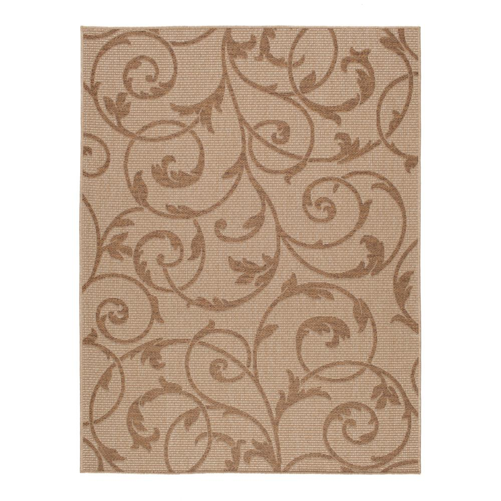 hampton bay Scroll Beige/Brown 8 ft. x 10 ft. Indoor/Outdoor Area Rug