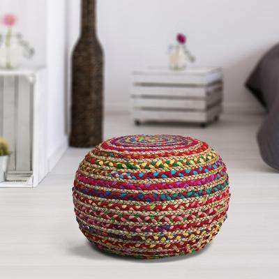 Chindi Jute Multi Indoor Ottoman