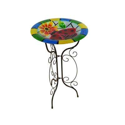 18 in. Glow in the Dark Glass Ladybug Birdbath