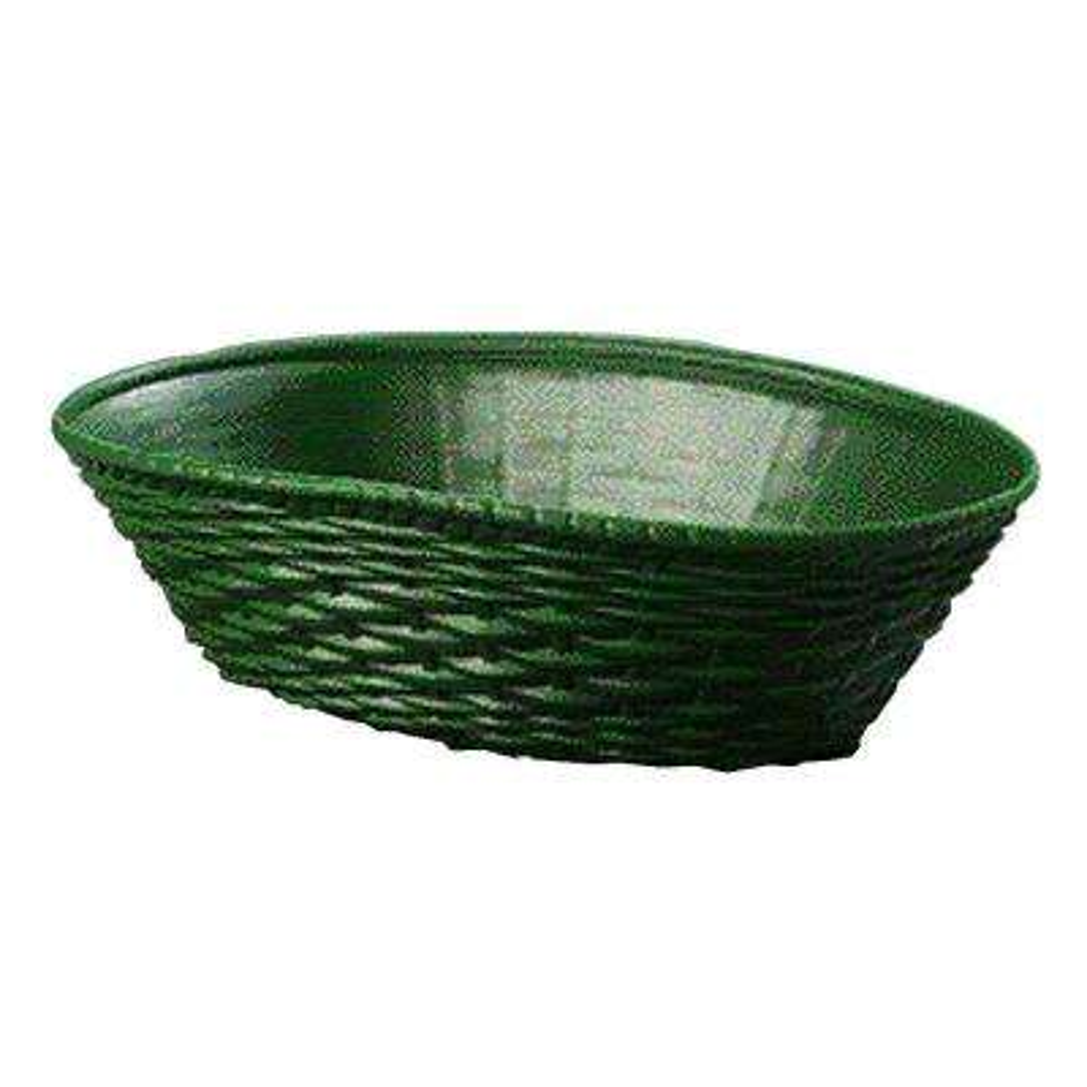 9.06 in. x 6.25 in. Polypropylene Oval Serving Basket in Green (Case of 12)