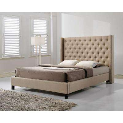 Pacifica Beige King Upholstered Bed