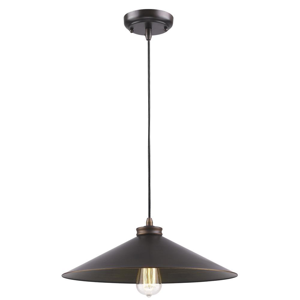 Alcove 1-Light Oil-Rubbed Bronze Pendant with Raw Brass Interior Shade