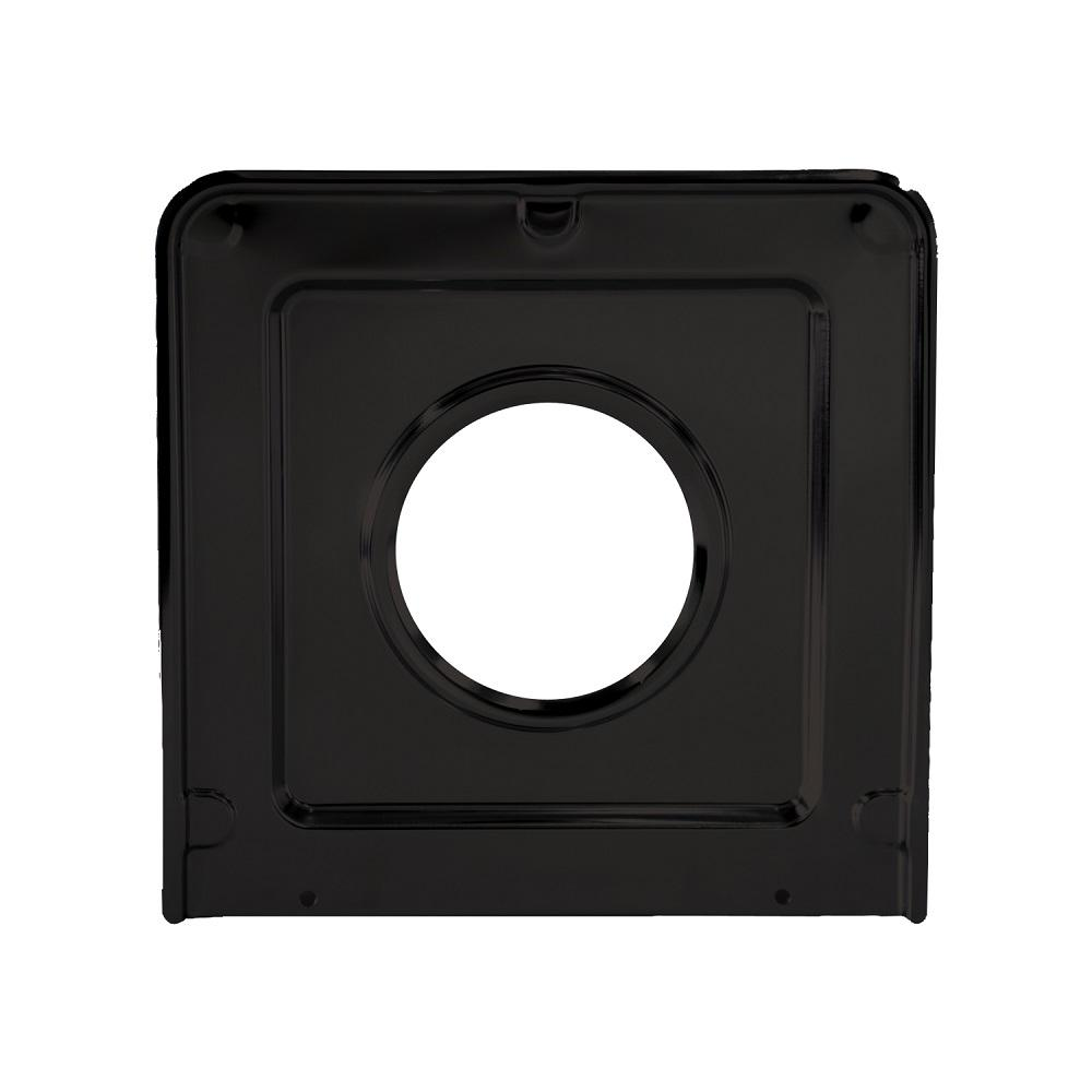 Range Kleen 9.125 x 9.3125 in. Drip Pan in Porcelain/Black Drip Pan Porcelain/Black 9.125x9.3125 in. Single pack. Range Kleen's Drip Pans offer the same fit of product that was on the range when new. Our drip bowls are made of heavy duty porcelain with long lasting finish.