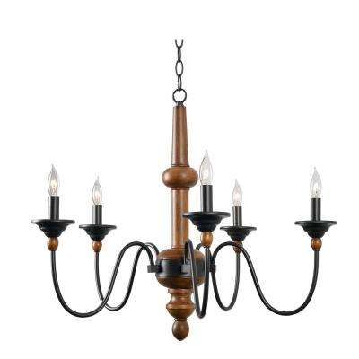 Madeline 5-Light Wood Grain Chandelier