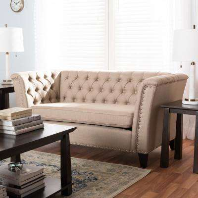 Prima 2-Seater Beige Fabric Upholstered Loveseat
