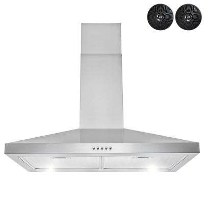30 in.217 CFM Convertible Wall Mount Range Hood in Stainless Steel with LEDs, Push Control and Carbon Filters