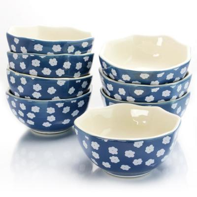 Life On The Farm Blue/White 4.75 in. Octagon Fruit Bowl (Set of 8)