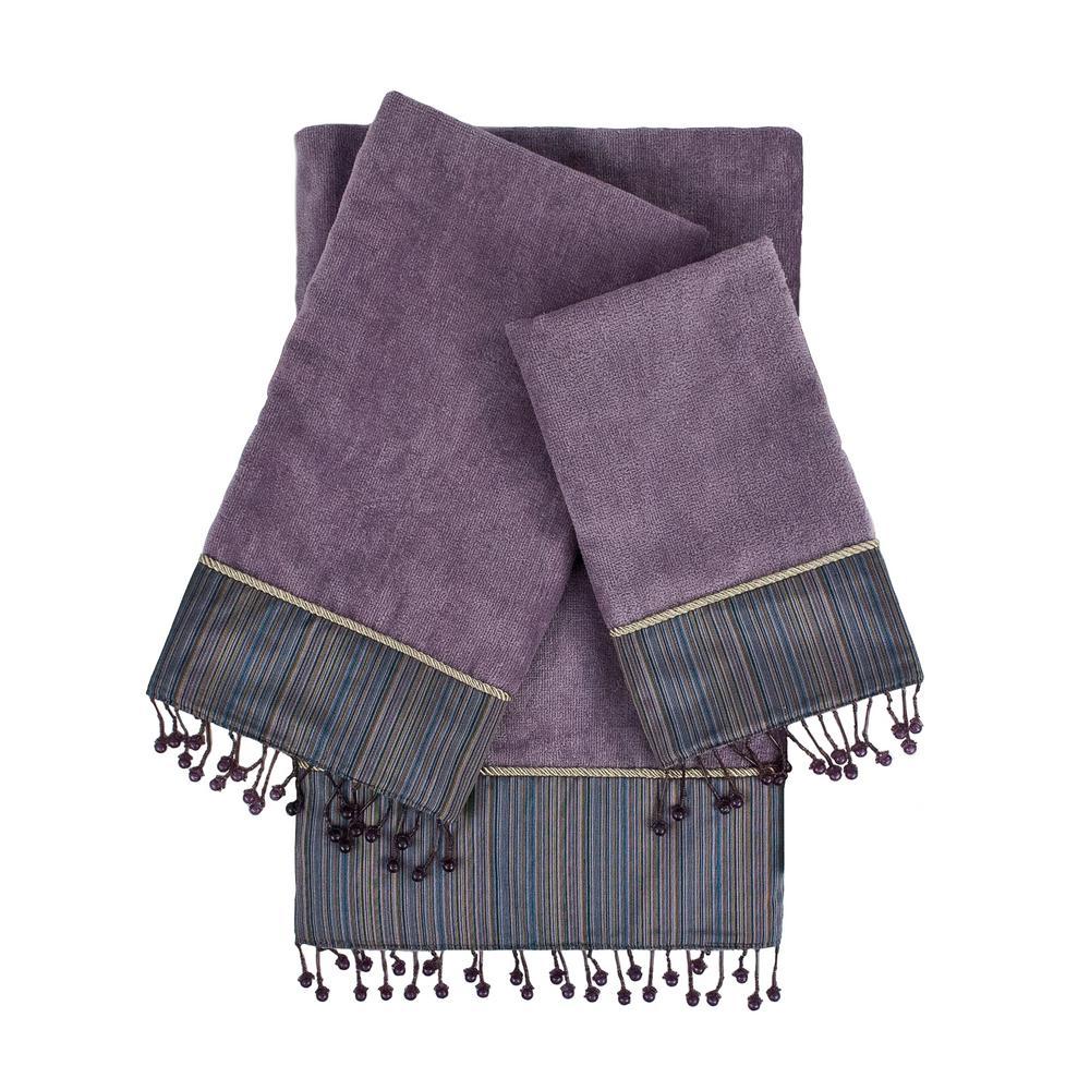 Silk Strie Lavender Embellished Towel Set (3-Piece)