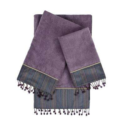 Silk Strie Lavender Embellished Towel Set (3-Piece)