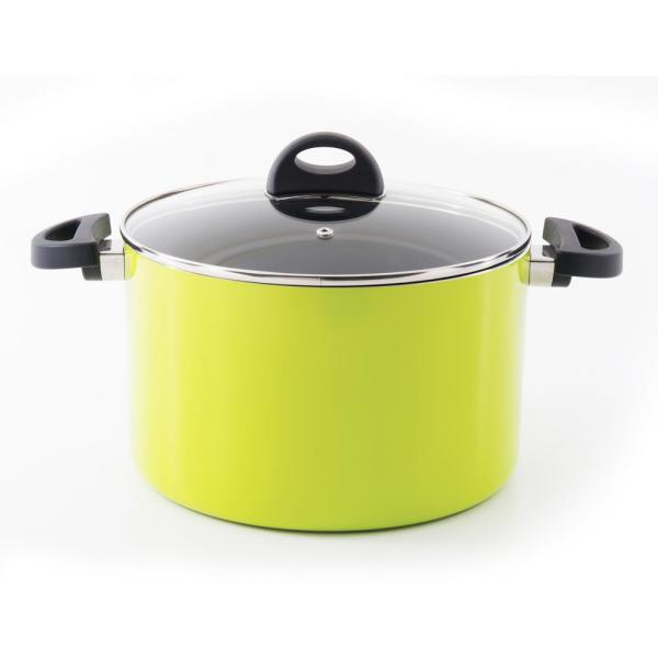 BergHOFF Eclipse 7 Qt. Aluminum Non-Stick Lime Green Stock Pot with
