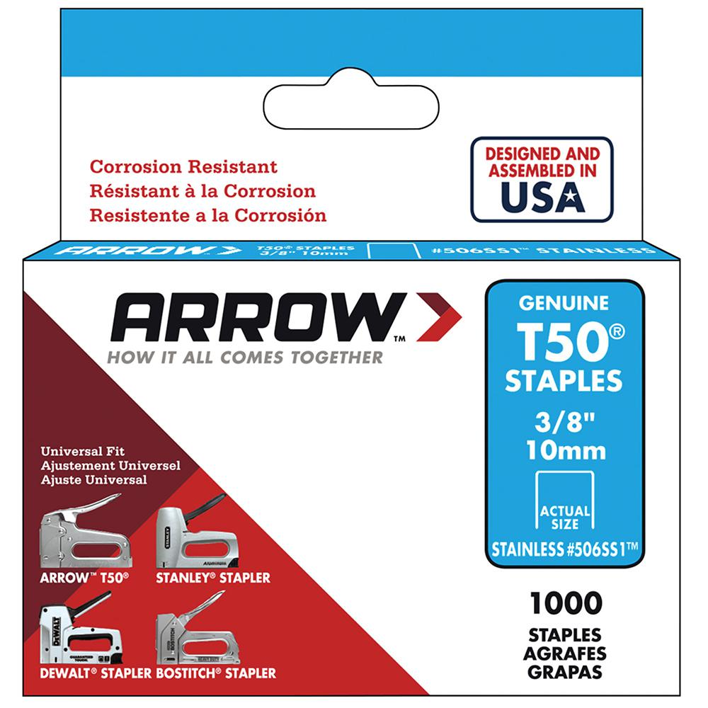 Arrow Fastener T50 3/8 in. Crown 16-Gauge Stainless Steel Staples (1000-Pack)