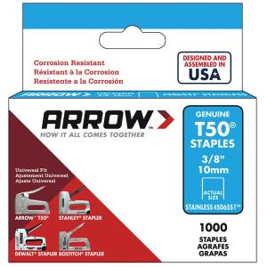 Arrow Fastener T50 3 8 In Crown 16 Gauge Stainless Steel