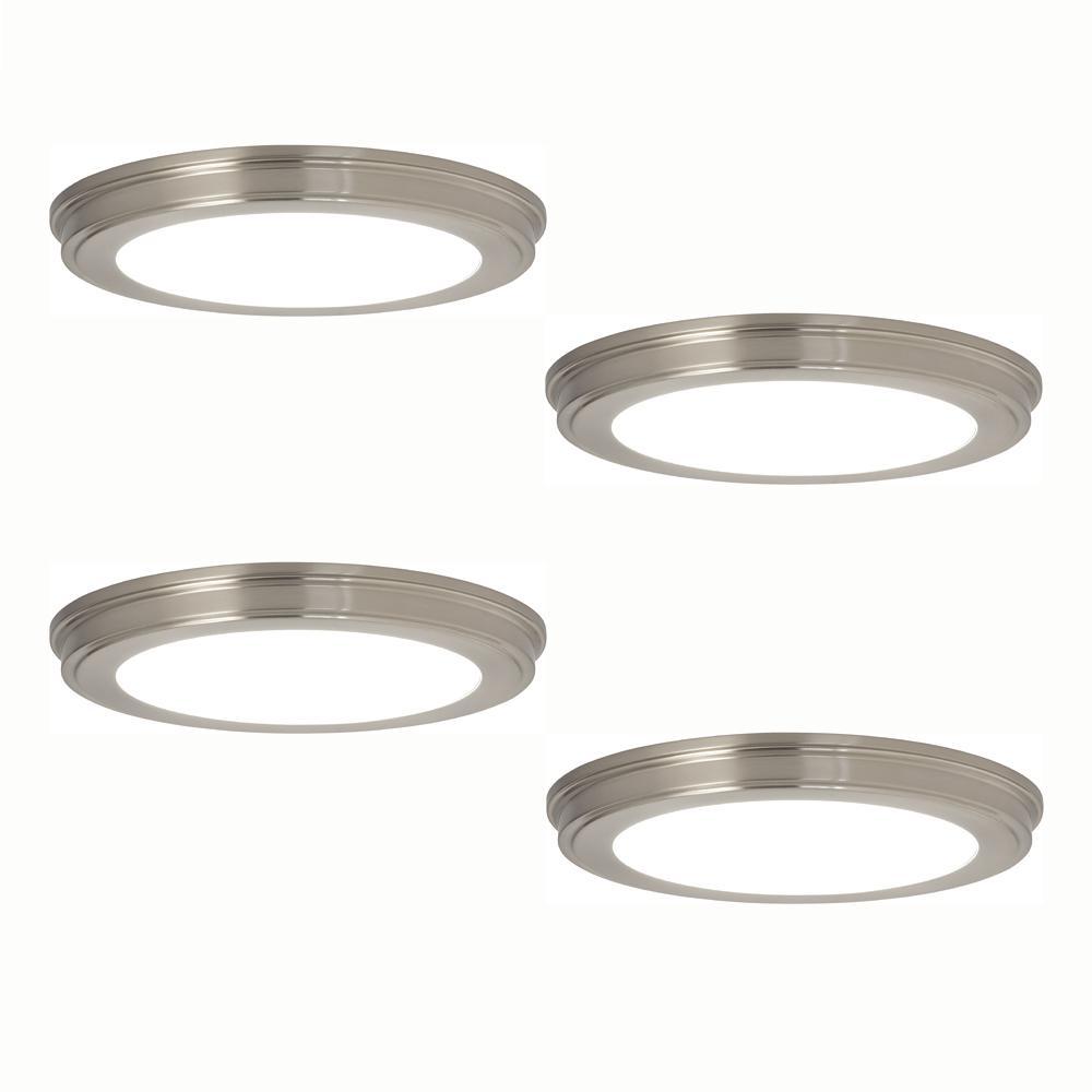 13 in. Brushed Nickel LED Ceiling Flush Mount (4-Pack)