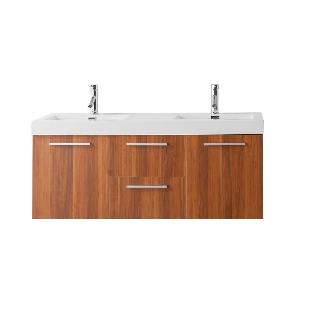 Midori 54.33 in. W Double Basin Vanity in Plum with Poly-Marble