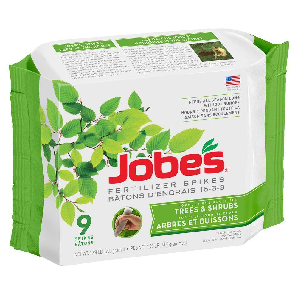Jobe's 2.2 lb. Tree and Shrub Fertilizer Spikes with Biozome, (9-Pack)