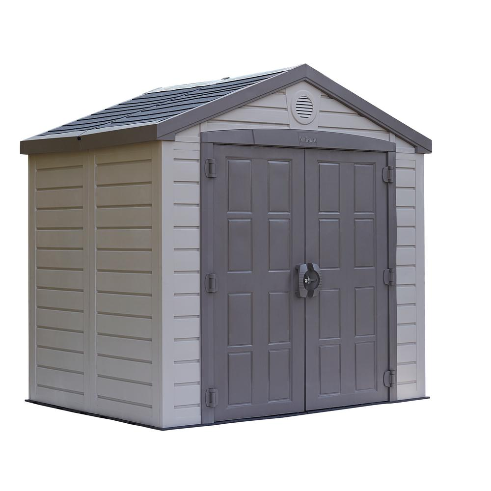 Us leisure keter sunterrace 8 ft x 6 ft resin outdoor for Resin garden shed