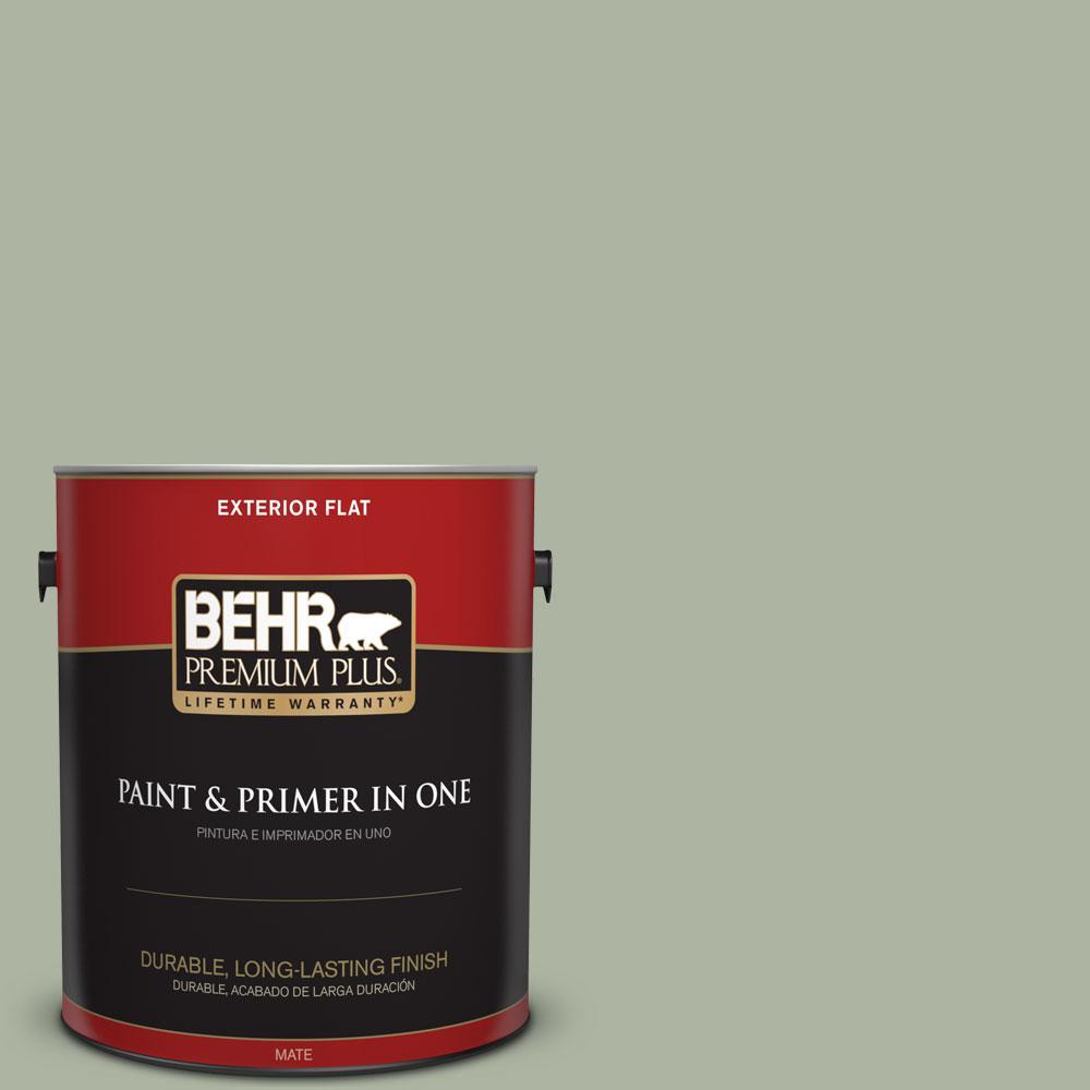 BEHR Premium Plus 1-gal. #430E-3 Laurel Mist Flat Exterior Paint