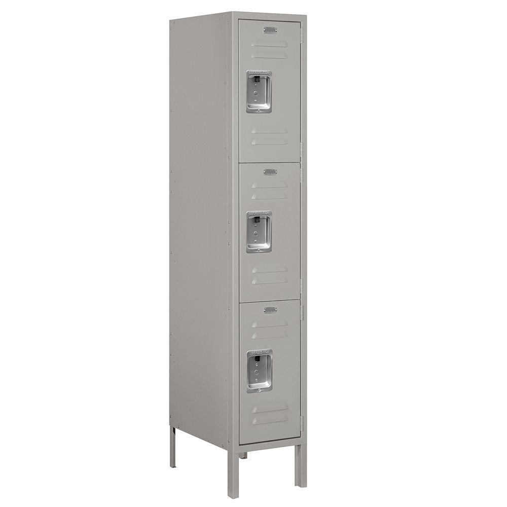 Salsbury Industries 63000 Series 12 in. W x 66 in. H x 18 in. D - Triple Tier Metal Locker Unassembled in Gray