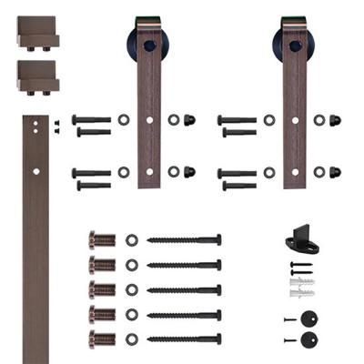 Soft-Close 96 in. Oil Rubbed Bronze Hook Strap Rolling Door Hardware Kit for Wood Door