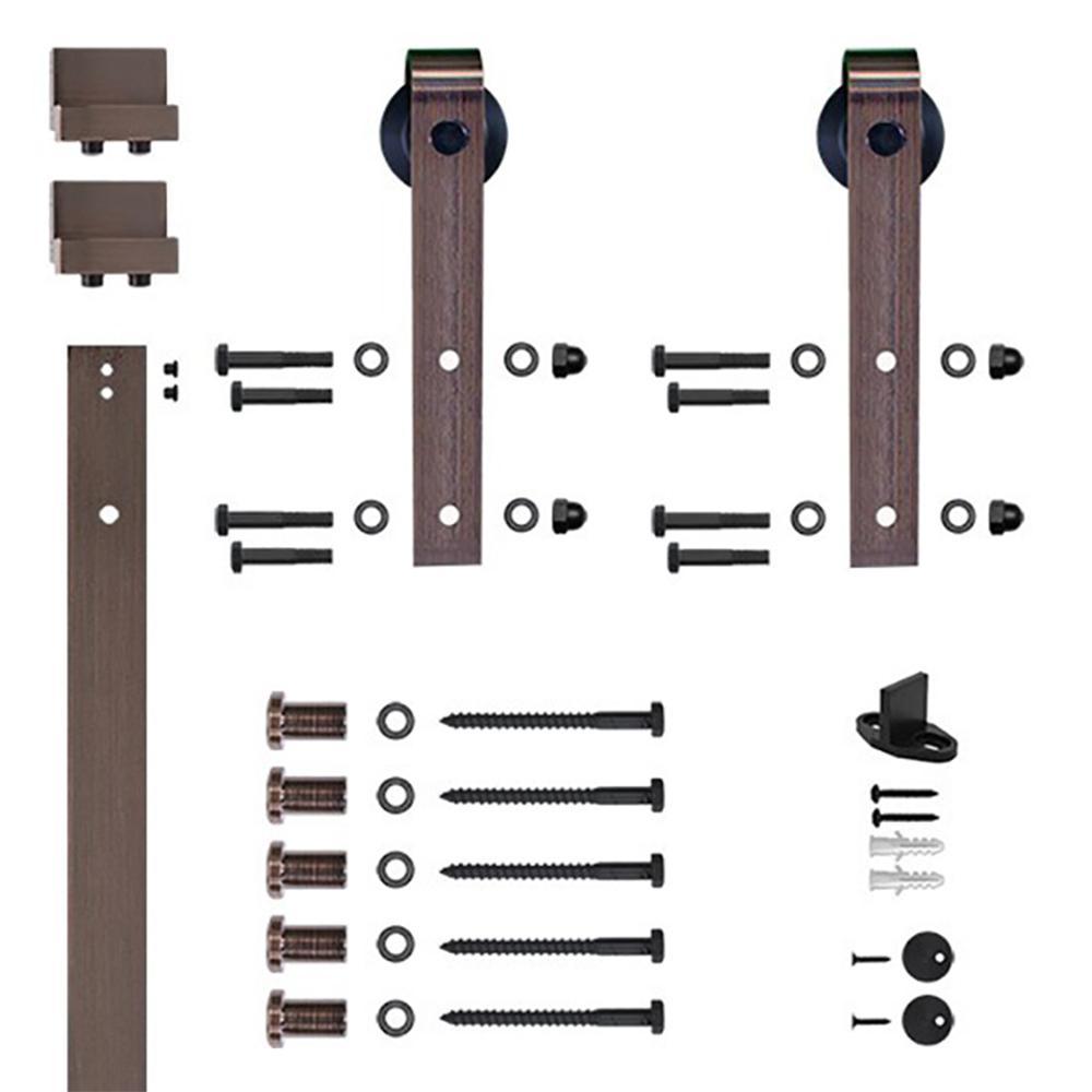 Soft-Close 96 in. Oil Rubbed Bronze Hook Strap Rolling Door Hardware Kit for Wood Door