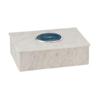 Antilles 10 in. x 3 in. White Marble And Blue Agate Decorative Box