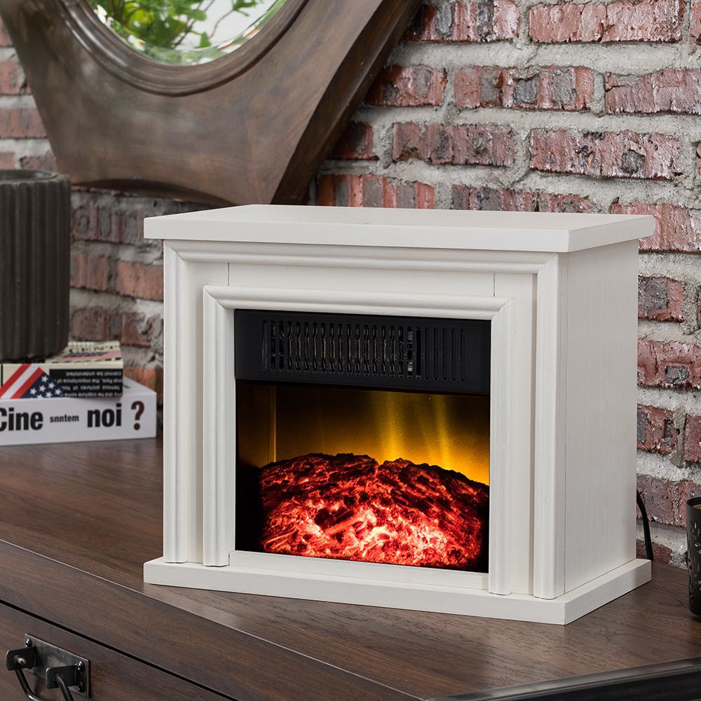 Hampton Bay 13 5 In Desktop Electric Fireplace In White