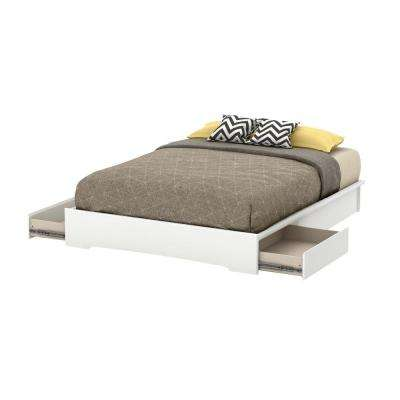 Basic 2-Drawer Queen-Size Storage Bed in Pure White