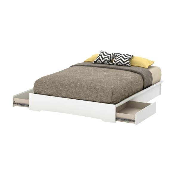 South Shore Basic 2-Drawer Queen-Size Storage Bed in Pure White 10158