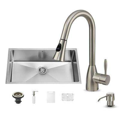 All-in-One 32 in. Mercer Stainless Steel Single Bowl Undermount Kitchen Sink with Pull Down Faucet in Stainless Steel