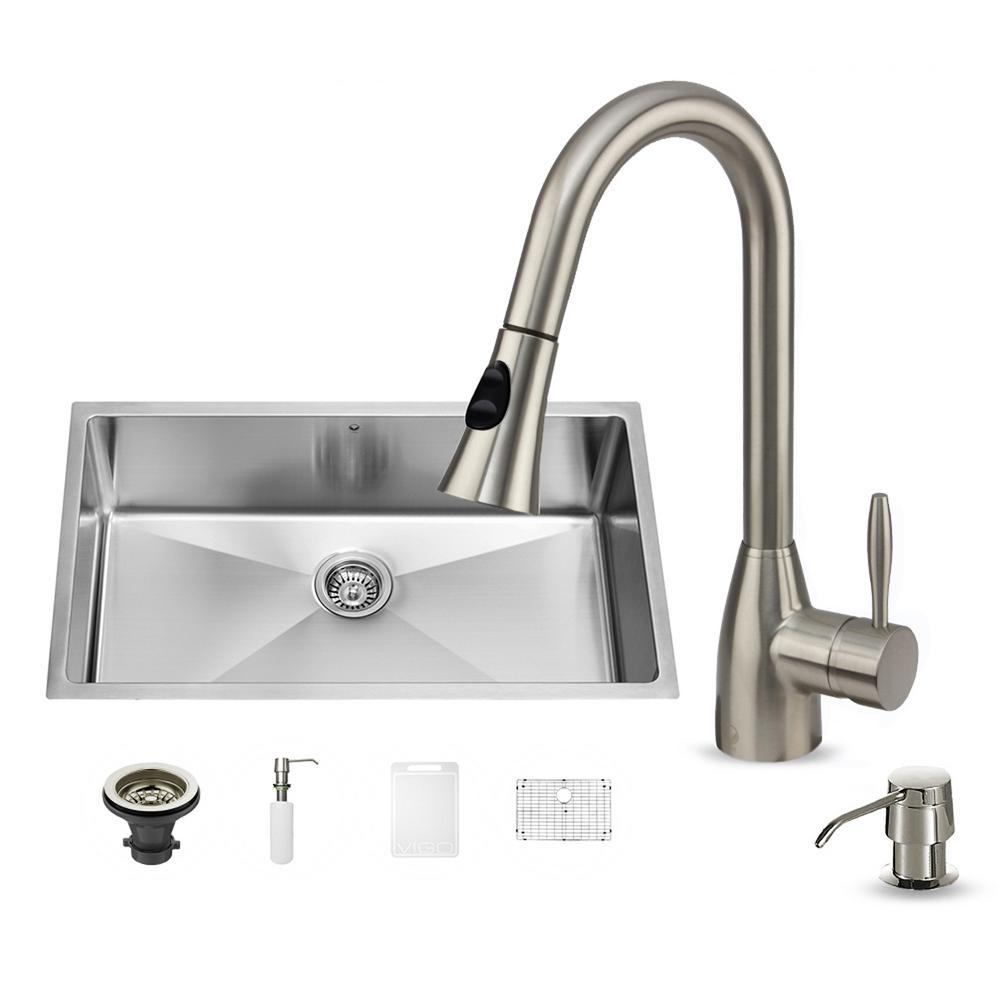 VIGO All-in-One Undermount Stainless Steel 32 in. Single Basin ...