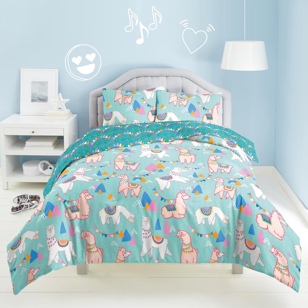 Llama Rama 3-Piece Multicolored Full Comforter Set
