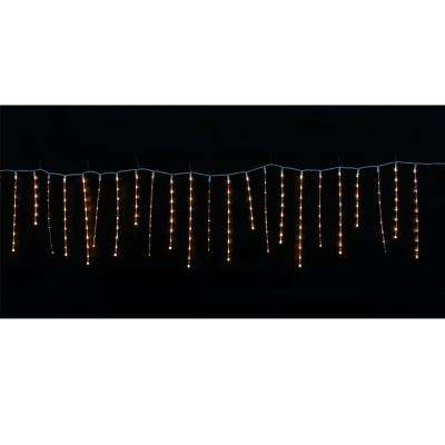 10 ft. 200-Light Warm White Micro Dot LED Twinkling Icicle Light