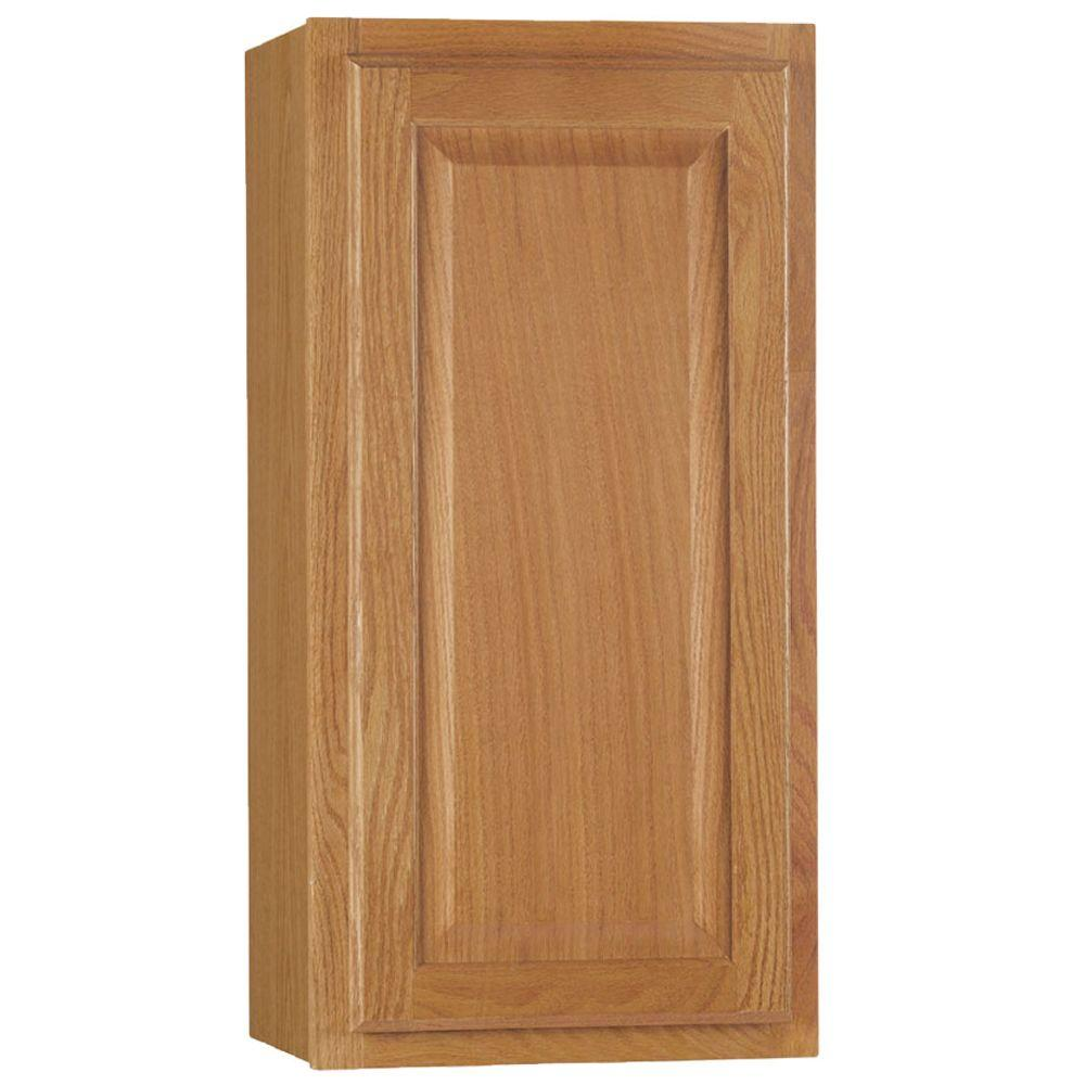 hampton bay Hampton Assembled 15x30x12 in. Wall Kitchen Cabinet in Medium Oak