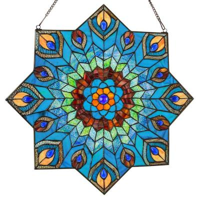 Multi-Colored Stained Glass Peacock Star Window Panel