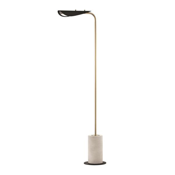 Layla 61.5 in. Aged Brass LED Floor Lamp with Black Accents