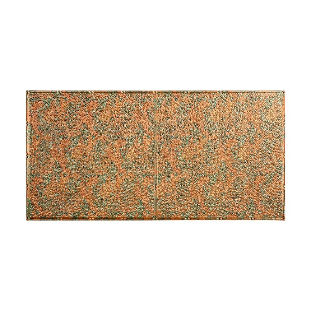 Hammered - 2 ft. x 4 ft. Glue-up Ceiling Tile in Copper Fantasy