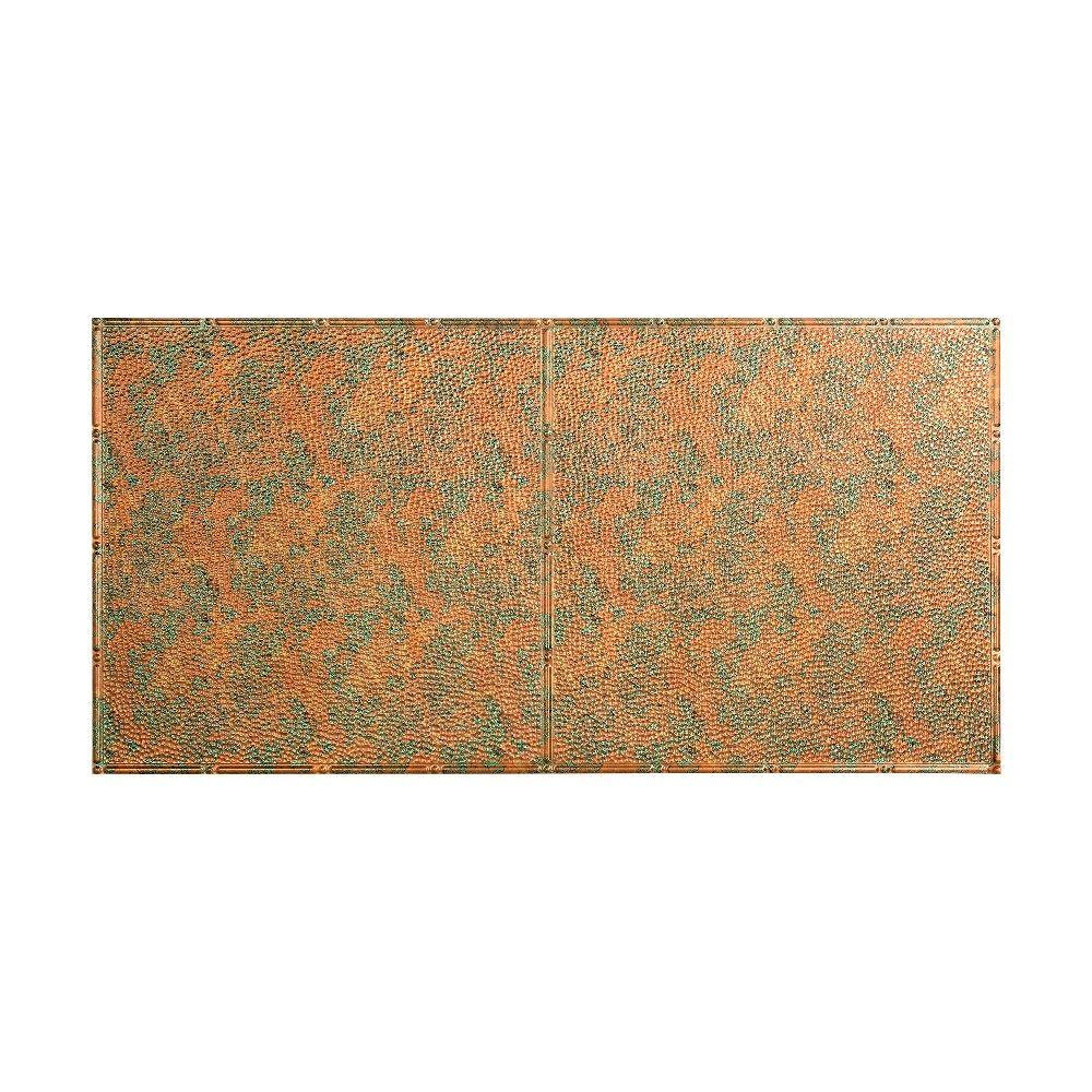 null Hammered - 2 ft. x 4 ft. Glue-up Ceiling Tile in Copper Fantasy