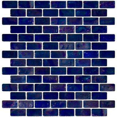 12 in. x 12 in. x 8 mm Tile Esque Blue Iridescent Glass Subway Mesh-Mounted Mosaic Tile