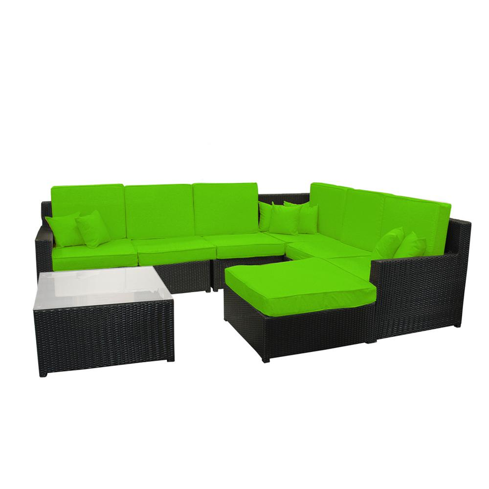 CC Outdoor Living 34.75 in. Black 8-Piece Resin Wicker Outdoor Furniture  Sectional Sofa Table and Ottoman Set with Lime Green Cushions