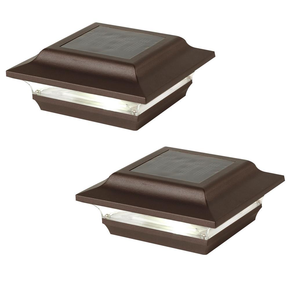 Imperial 4 in. x 4 in. Outdoor Bronze Cast Aluminum LED Solar Post Cap (2-Pack)