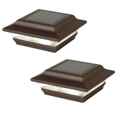 Imperial 4 in. x 4 in. Outdoor Bronze Cast Aluminum LED Solar Post Cap (2-Pack)