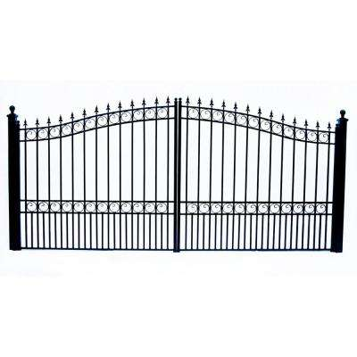London Style 12 ft. x 6 ft. Black Steel Dual Swing Driveway Fence Gate