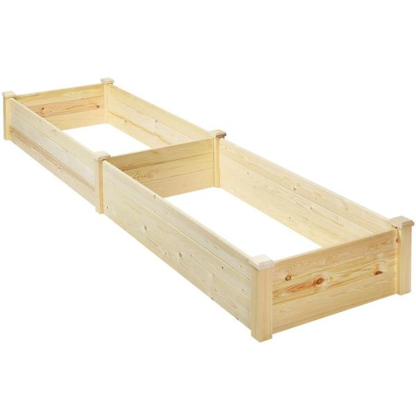 97 in. Dia. Natural Wood Garden Raised Bed Elevated Planter Box Herbs Flowers Bed Kit