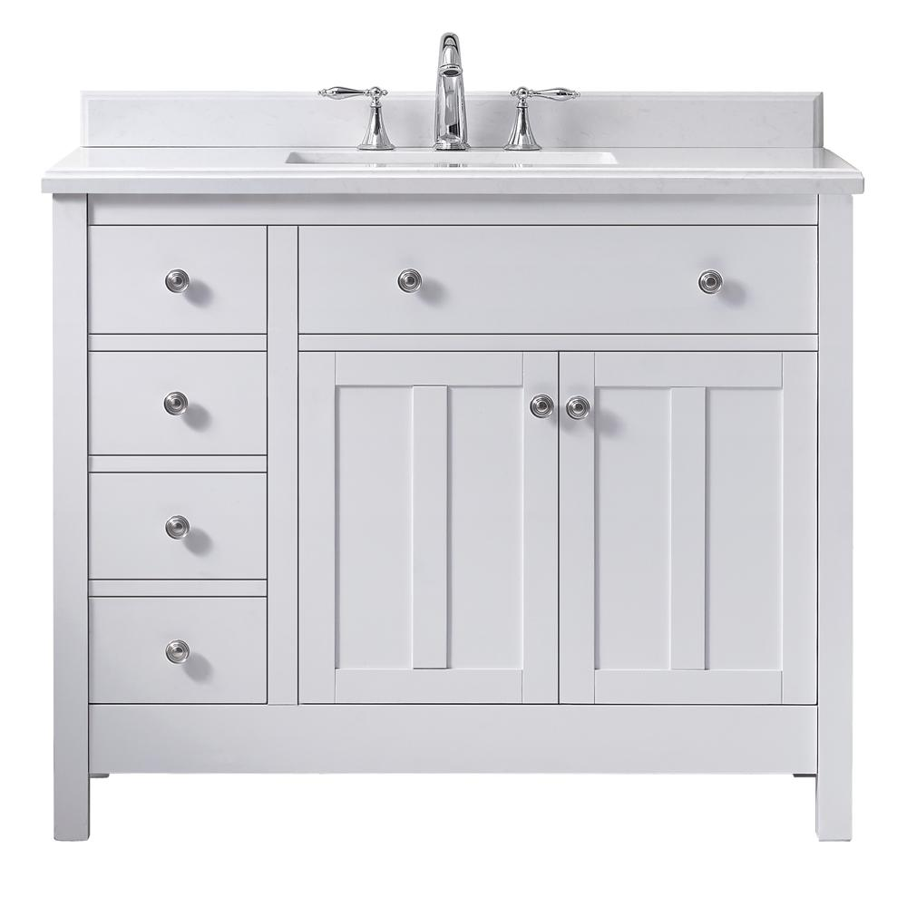 Newcastle 42 In. W X 21 In. D Vanity In Pure White With Marble Vanity Top In White With White Basin by Ove Decors